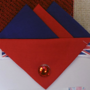 Navy Blue and Red Hankie With Red Flap and Pin